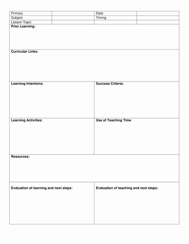 Elementary Lesson Plan Template Word New Blank 8 Step Lesson Plan Template by Kristopherc