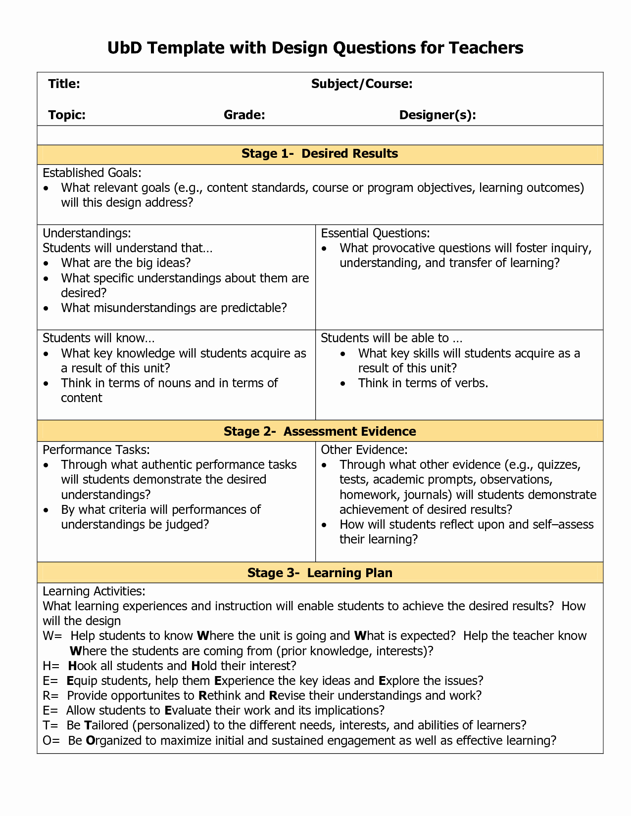 Elementary Math Lesson Plan Template Elegant Blank Ubd Planning Template Doc