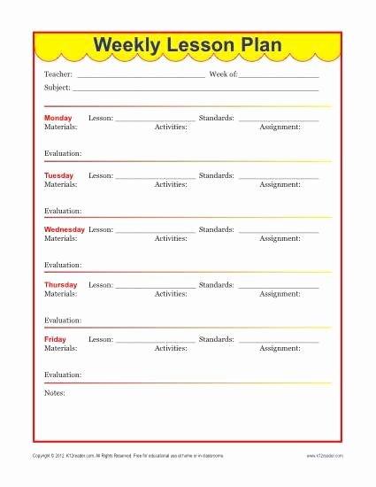 Elementary Math Lesson Plan Template Fresh Weekly Detailed Lesson Plan Template Elementary