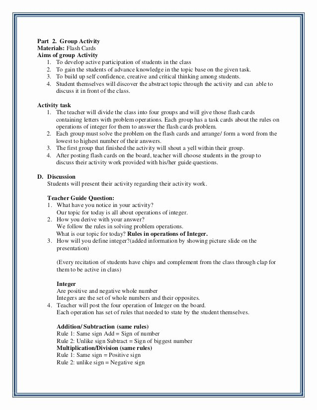 Elementary Math Lesson Plan Template Inspirational Integer Lesson Plan
