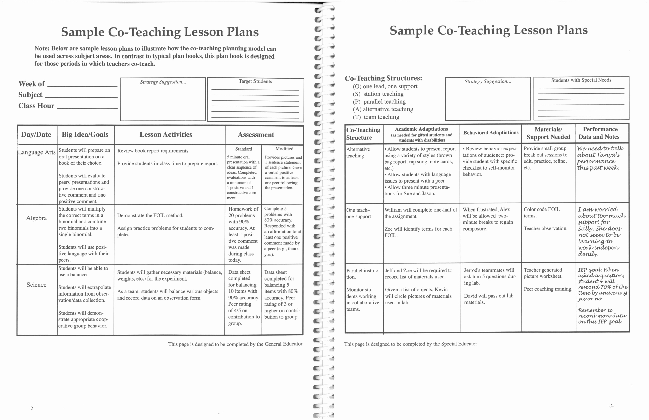 Elementary School Lesson Plans Template Awesome Printable Co Teaching Lesson Plans 2 with Teaching Lesson