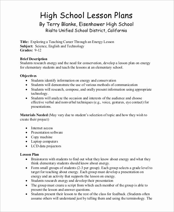 Elementary School Lesson Plans Template Best Of Sample Lesson Plan 9 Examples In Word Pdf