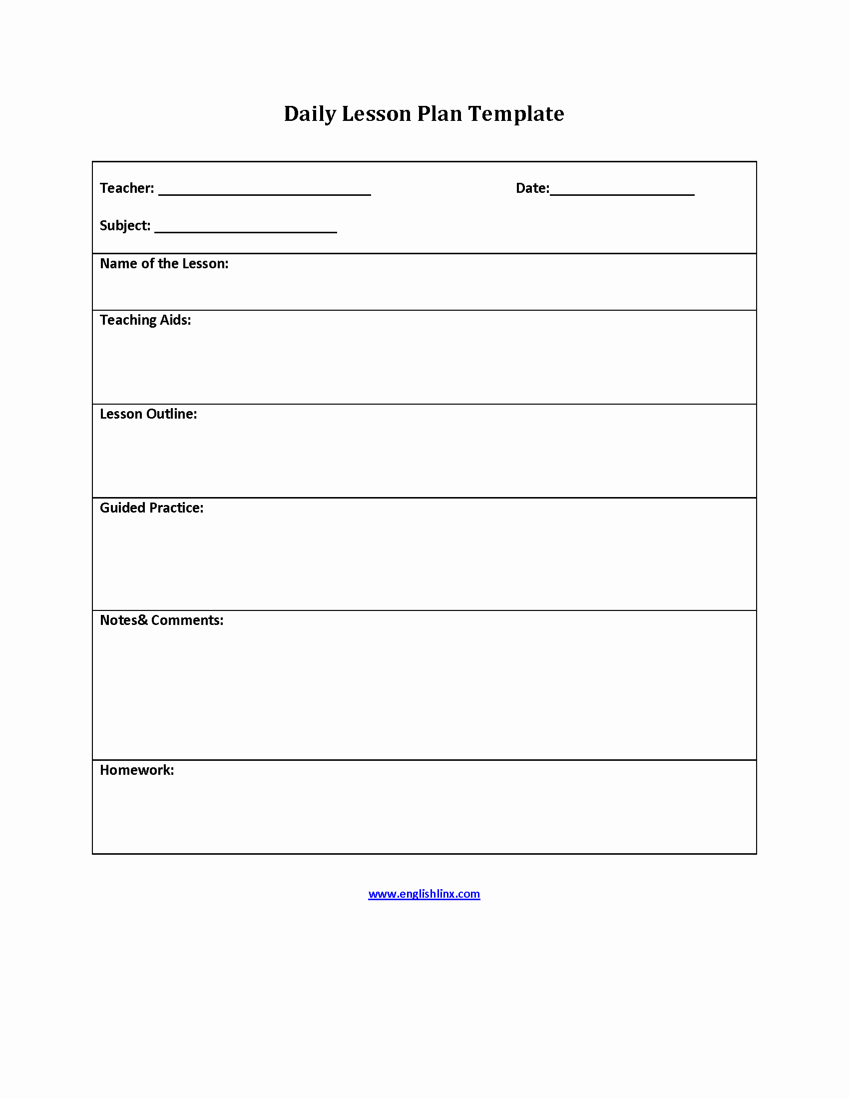 Elementary School Lesson Plans Template New Englishlinx