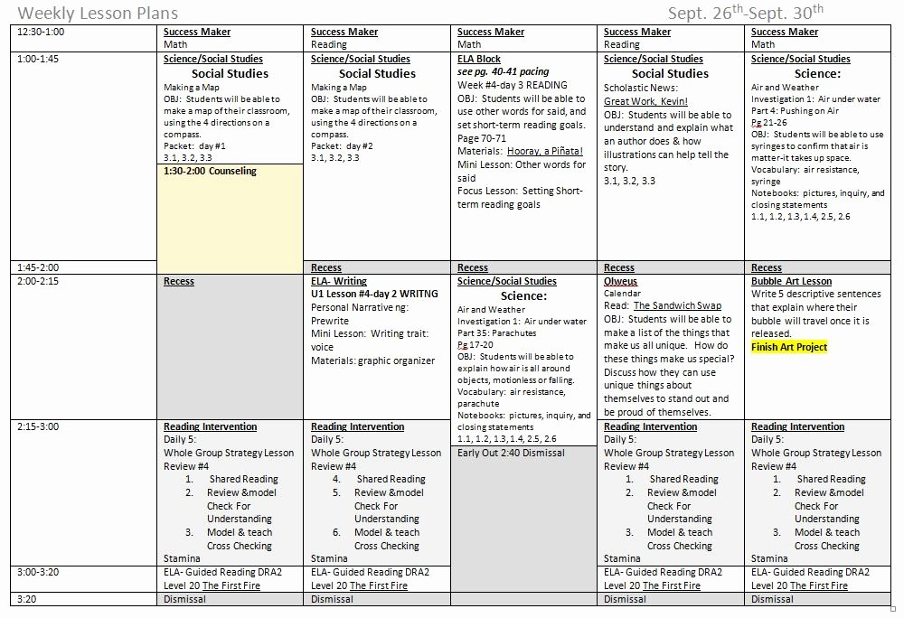 Elementary Weekly Lesson Plan Template Inspirational 5 Ponents to A Great Weekly Lesson Plan