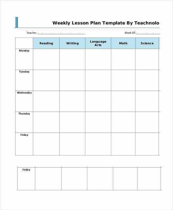 Elementary Weekly Lesson Plan Template Inspirational Lesson Plan Template 14 Free Word Pdf Documents