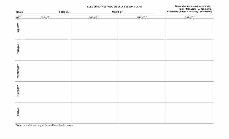 Elementary Weekly Lesson Plan Template Inspirational Printable Lesson Plan Template – Grupofive