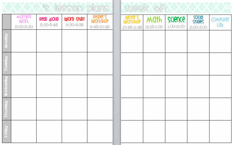Elementary Weekly Lesson Plan Template Luxury Elementary organization Two Updated Lesson Plan Templates