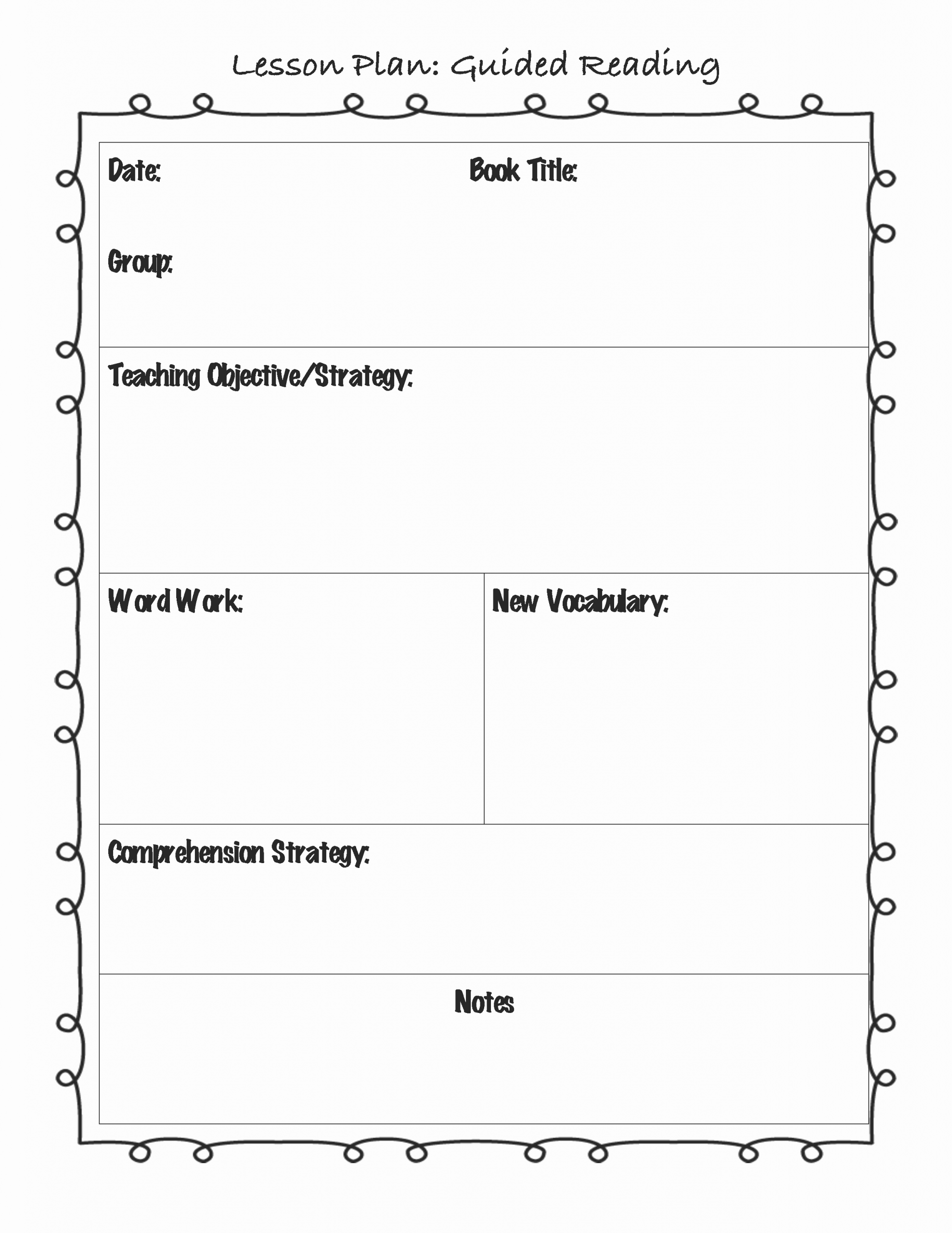 Elementary Weekly Lesson Plan Template New Guided Reading Lesson Plan Template