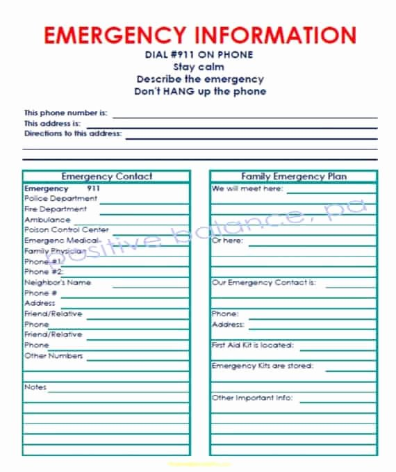 Emergency Contact form Template Word Awesome 5 Emergency Contact List Templates – Word Templates