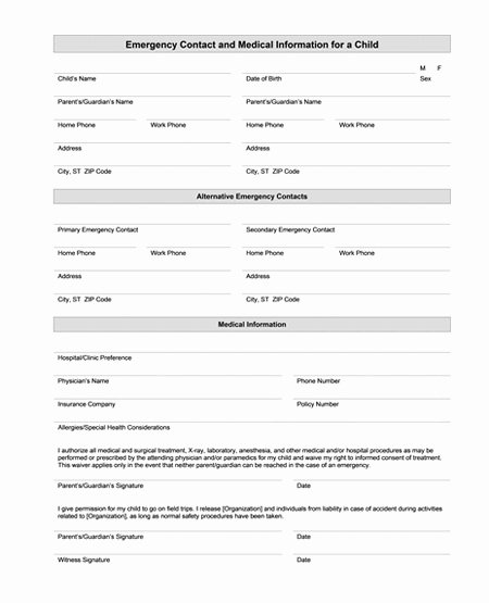 Emergency Contact form Template Word Awesome Best S Of Health Care forms Templates Mental Health