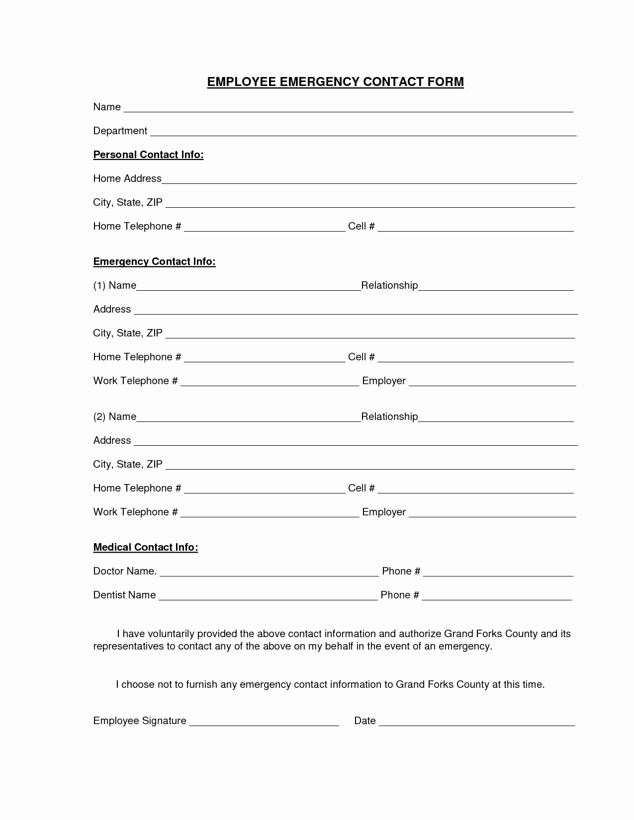 Emergency Contact form Template Word Awesome Best S Of Personal Contact form Template Emergency