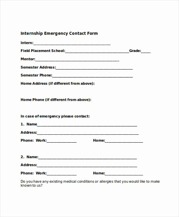 Emergency Contact form Template Word Awesome Free 33 Emergency Contact form Templates In Pdf