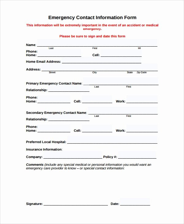 Emergency Contact form Template Word Beautiful Personal Contact Information form Employee Emergency