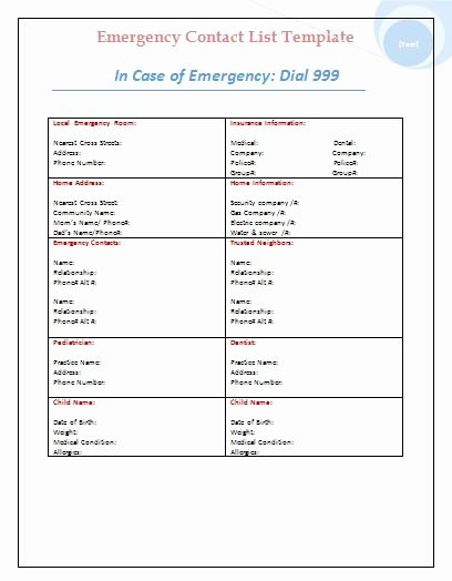 Emergency Contact form Template Word Best Of Templates On Pinterest