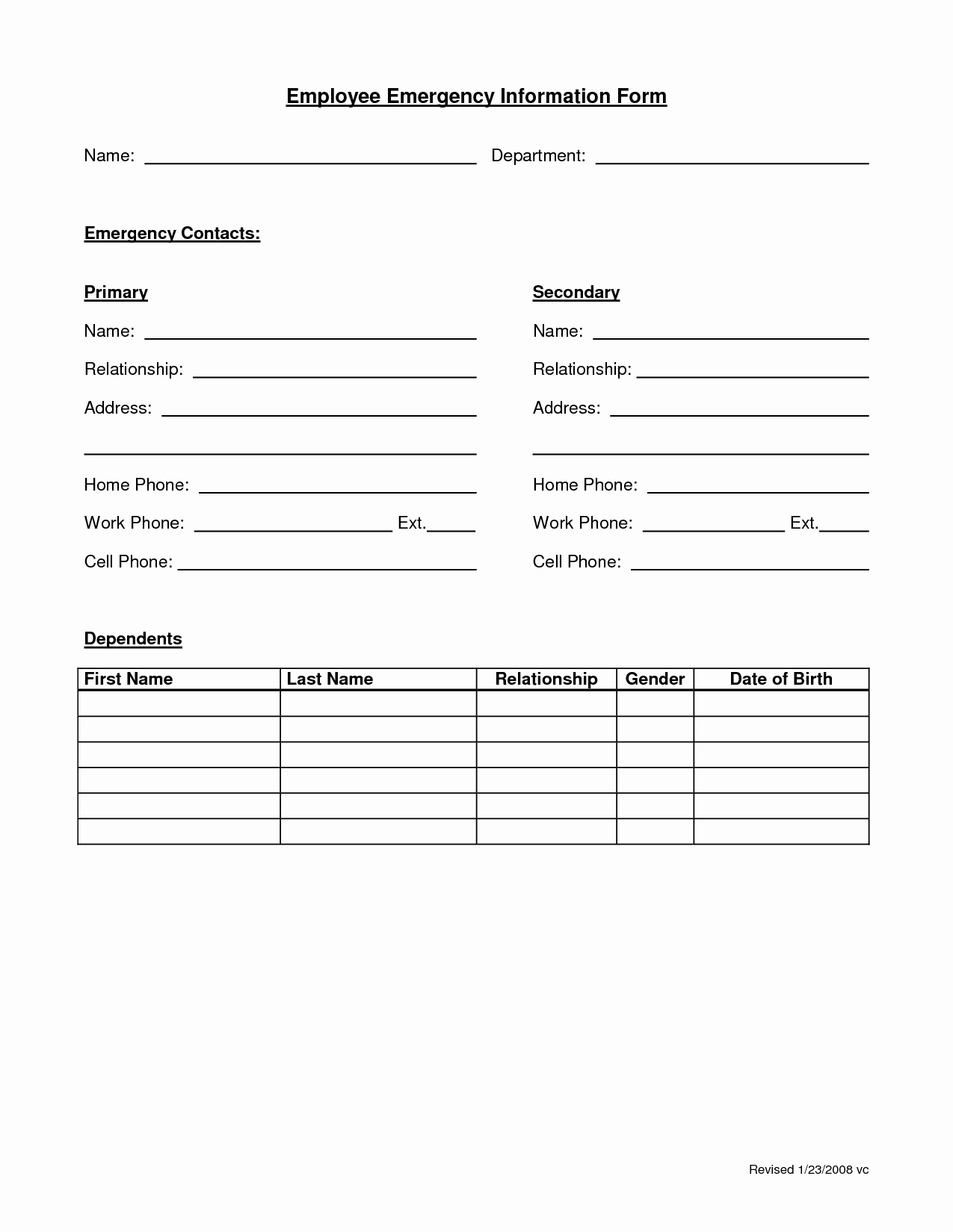 Emergency Contact form Template Word Elegant Employee Emergency form Employee forms