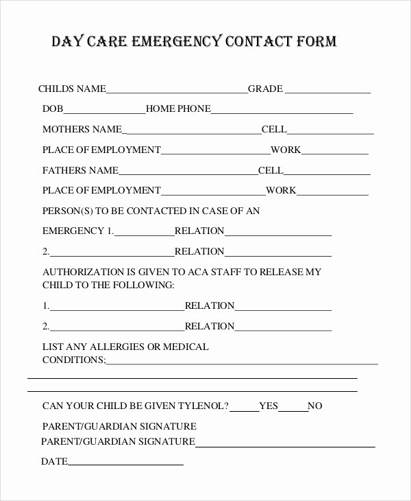 Emergency Contact form Template Word Inspirational 8 Sample Emergency Contact forms Pdf Doc