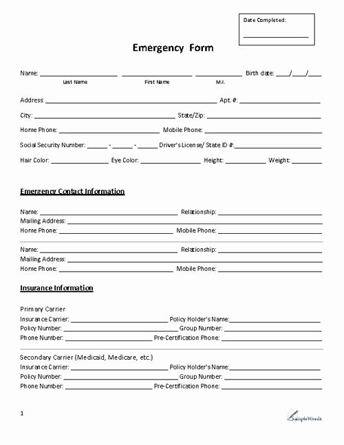 Emergency Contact form Template Word Inspirational Emergency form Contact