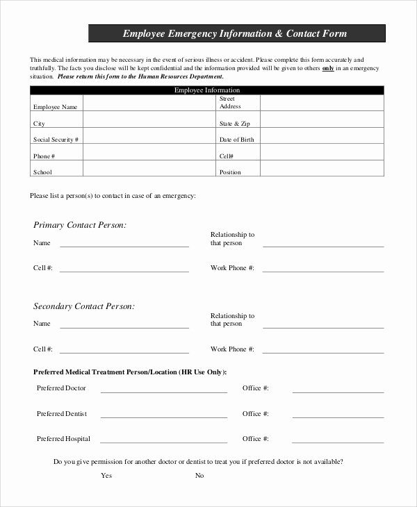 Emergency Contact form Template Word Inspirational Sample Employee Information form 10 Examples In Pdf Word