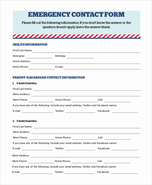 Emergency Contact form Template Word Lovely 8 Sample Emergency Contact forms Pdf Doc