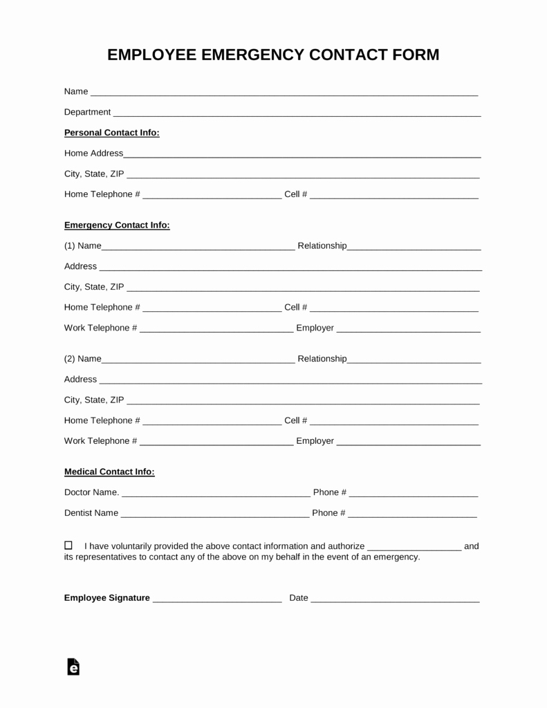 Emergency Contact form Template Word Luxury Free Employee Emergency Contact form Pdf Word