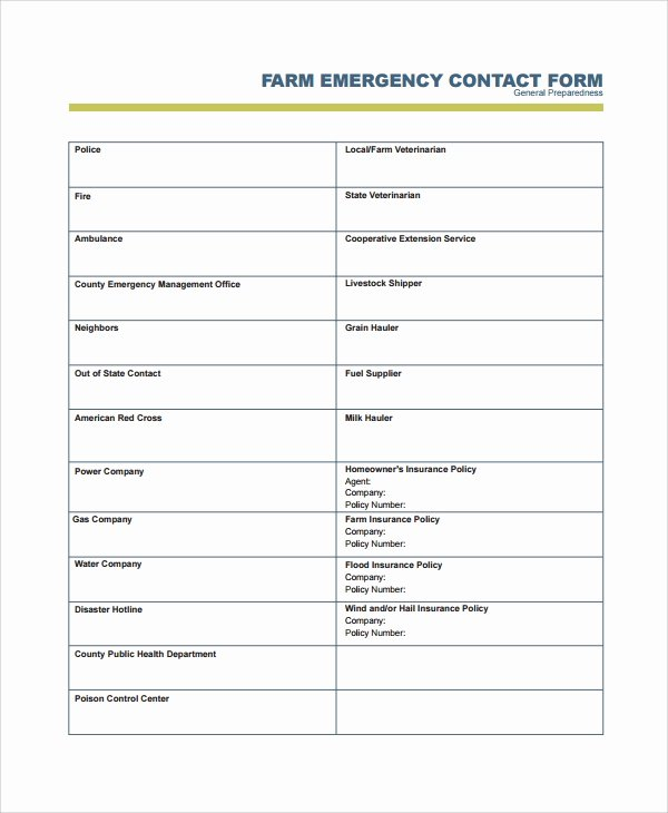 Emergency Contact form Template Word New 8 Emergency Contact form Samples Examples Templates