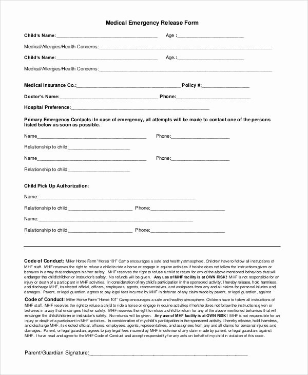 Emergency Room form Template Awesome 47 Printable Release form Samples & Templates Pdf Doc