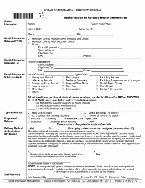 Emergency Room form Template Elegant 40 Medical Records Release form Release Of Information
