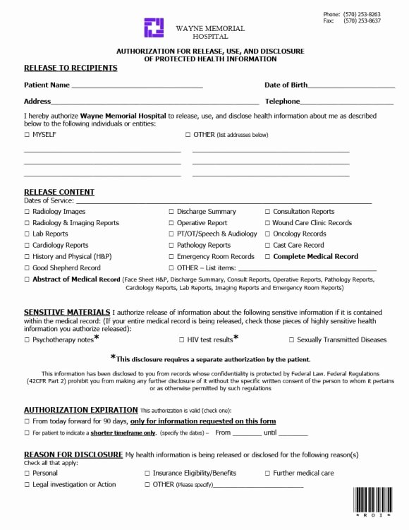 Emergency Room form Template Fresh 40 Medical Records Release form Release Of Information