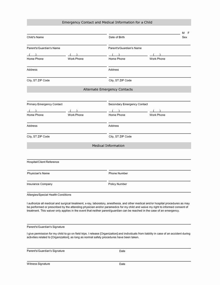 Emergency Room form Template Inspirational Student Information Sheet