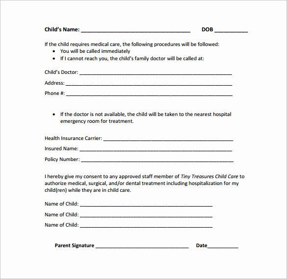 Emergency Room form Template Unique Sample Emergency Release form 12 Download Free