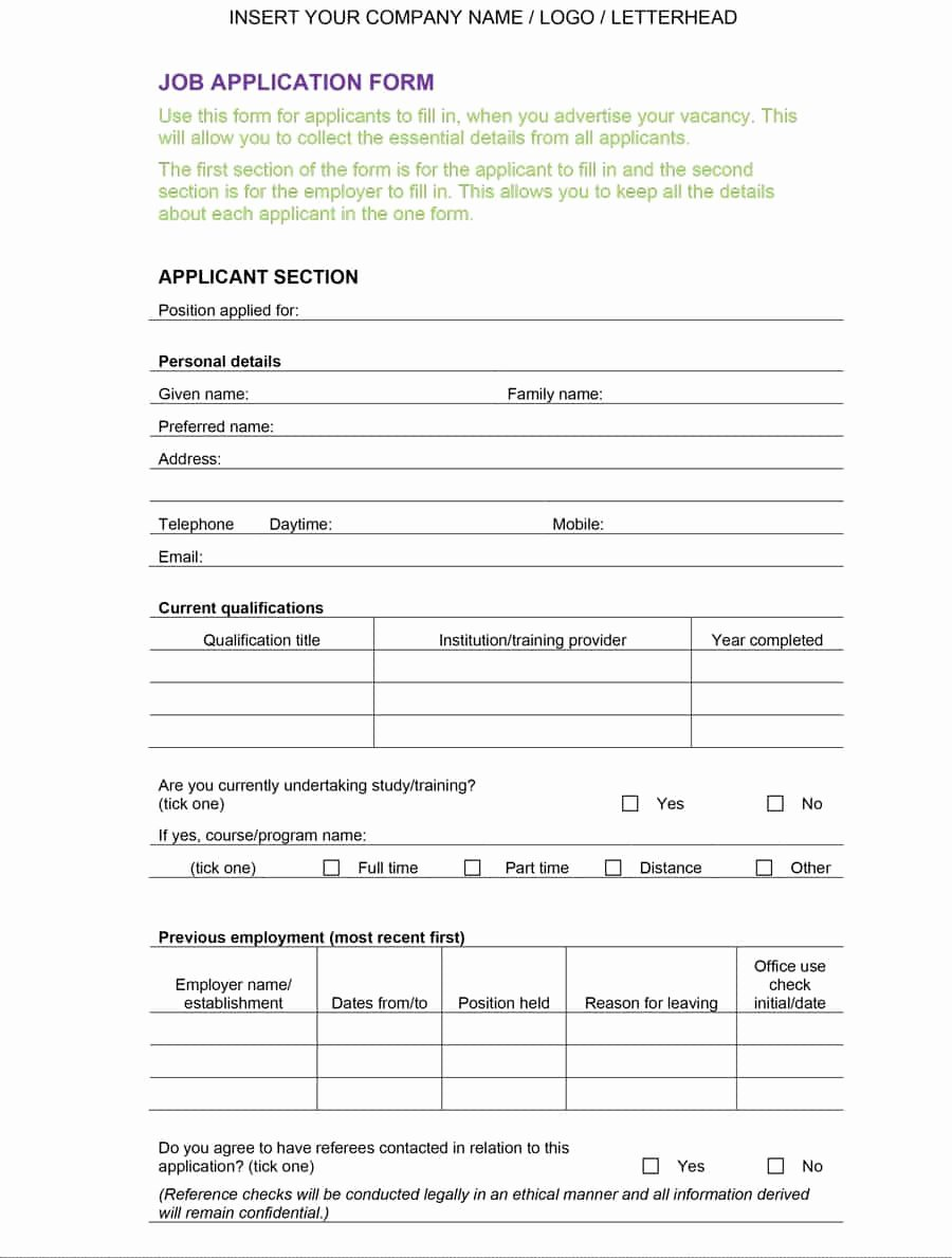 Employee Application form Template Free Awesome 50 Free Employment Job Application form Templates