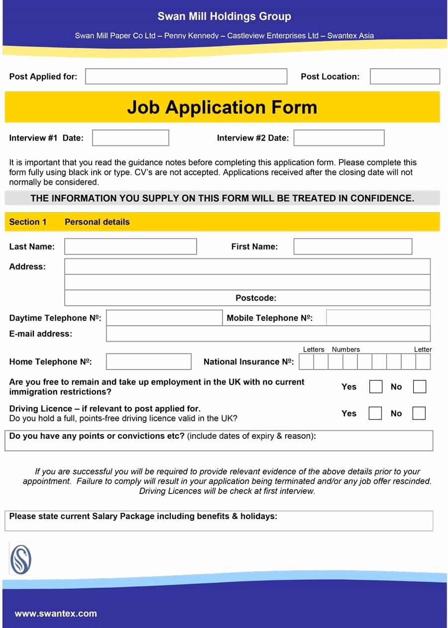 Employee Application form Template Free Best Of 50 Free Employment Job Application form Templates
