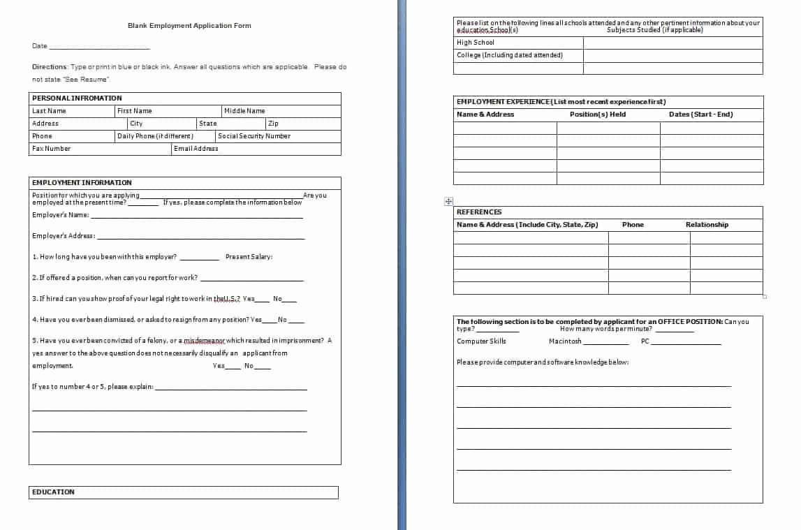Employee Application form Template Free Lovely Sample Templates Page 2 Of 20 Free formats Excel Word