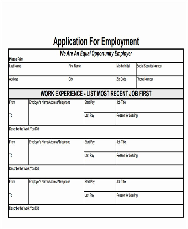 Employee Application form Template Free Luxury 49 Job Application form Templates