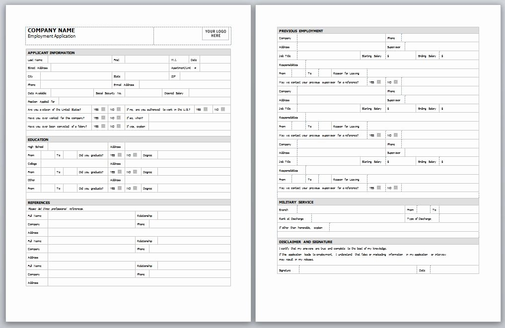 Employee Application form Template Free Unique Employment Application Template