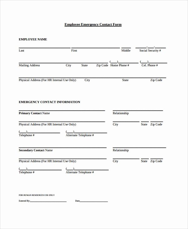 Employee Contact form Template Awesome Sample Contact form 8 Documents In Pdf Word