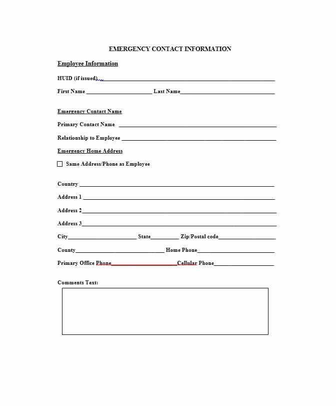 Employee Contact form Template Elegant 54 Free Emergency Contact forms [employee Student]