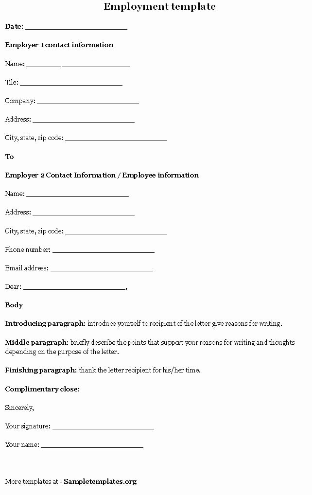Employee Contact form Template Fresh Employment Template Sample Templates