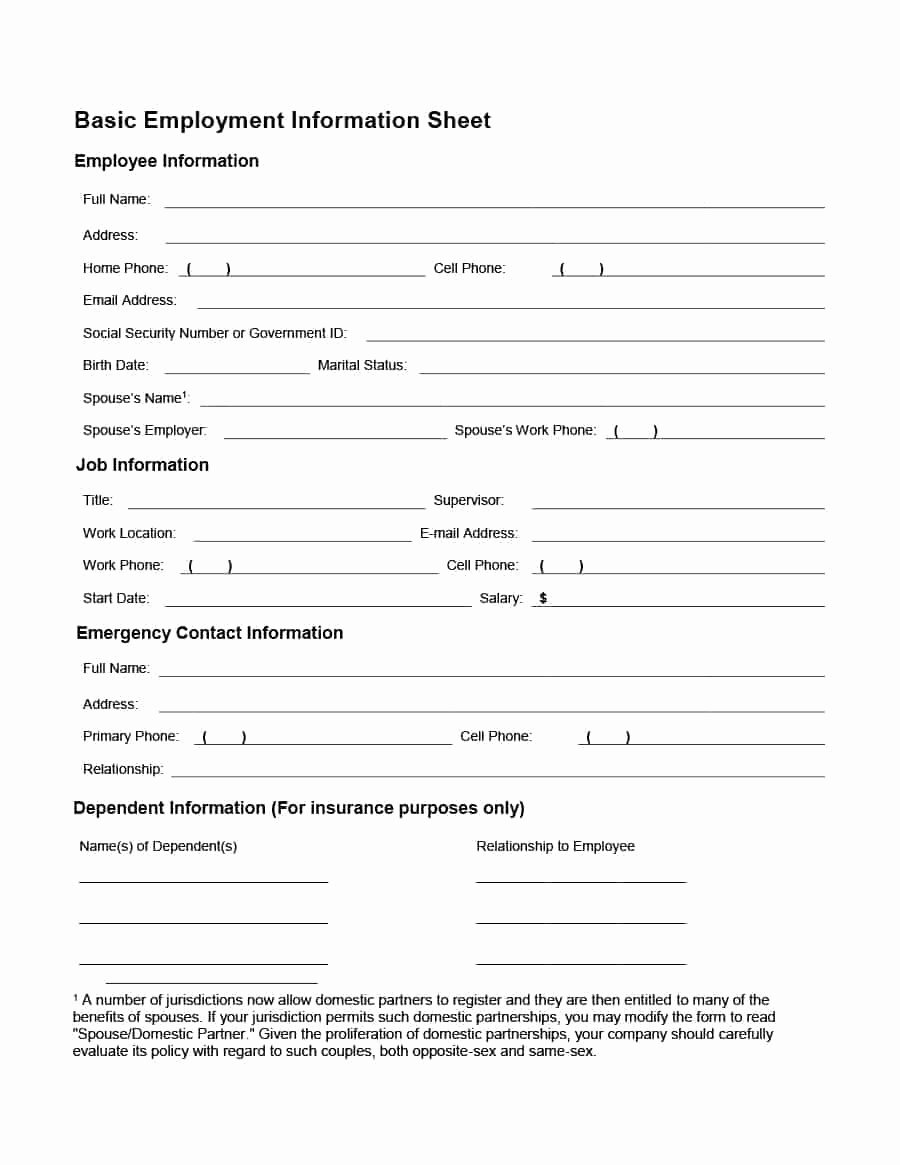 Employee Contact form Template Lovely 47 Printable Employee Information forms Personnel