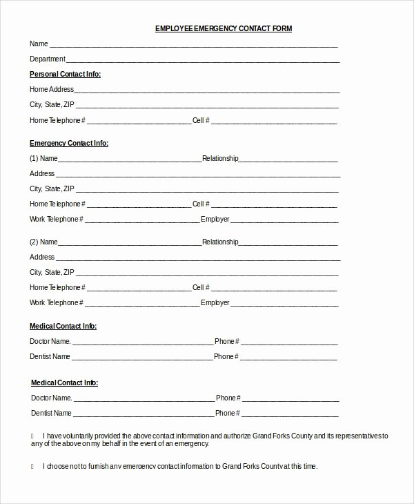 Employee Contact form Template New 8 Sample Emergency Contact forms Pdf Doc