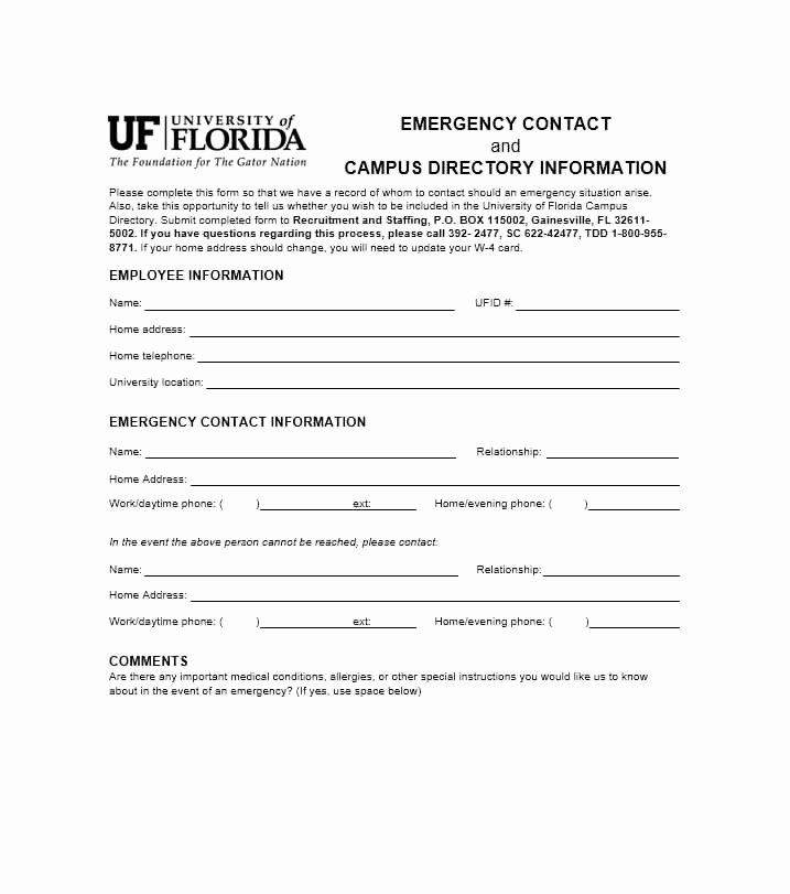 Employee Contact form Template Unique 54 Free Emergency Contact forms [employee Student]