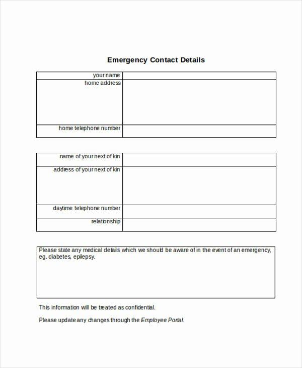 Employee Contact form Template Unique Free 33 Emergency Contact form Templates In Pdf