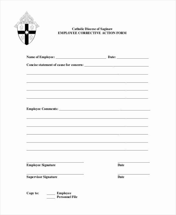 Employee Corrective Action form Template Fresh Free 8 Sample Corrective Action forms In Sample Example