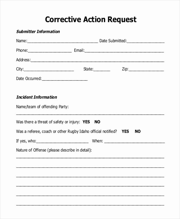 Employee Corrective Action form Template Lovely Free 9 Sample Corrective Action forms In Pdf