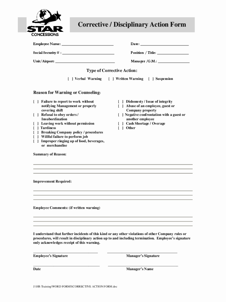 Employee Corrective Action form Template Luxury Employee Corrective Action form