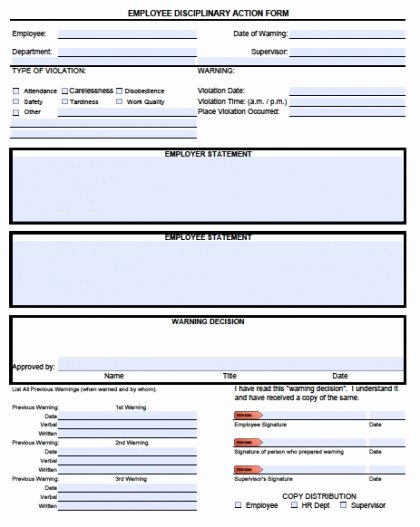Employee Disciplinary form Template Free Awesome Download Employee Write Up forms