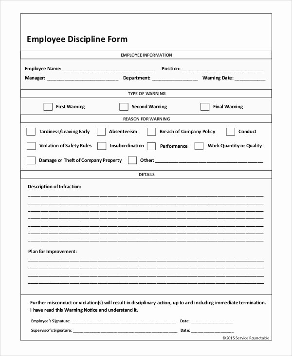 Employee Disciplinary form Template Free Fresh Sample Employee Discipline form 10 Examples In Pdf Word