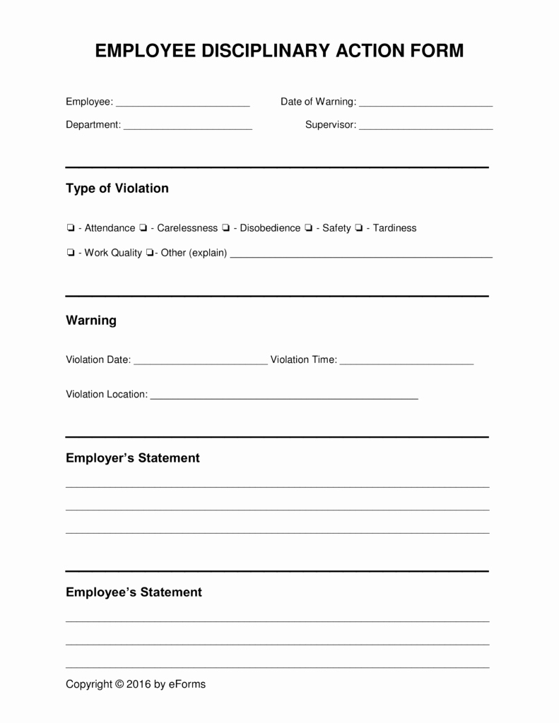 Employee Disciplinary form Template Free New Employee Disciplinary forms