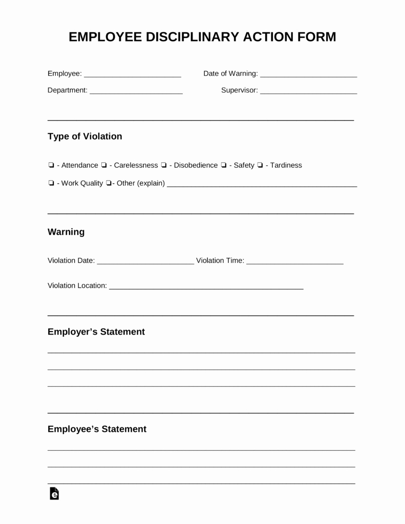 Employee Disciplinary form Template Free New Free Employee Disciplinary Action Discipline form Pdf