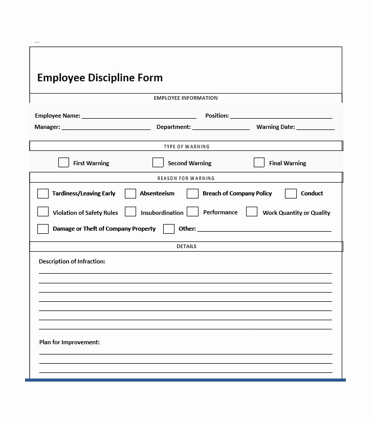Employee Disciplinary form Template Free Unique 40 Employee Disciplinary Action forms Template Lab
